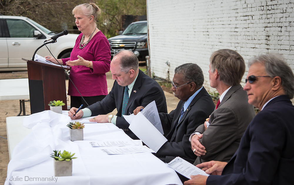 Environmental scientist Wilma Subra speaking during the ground breaking ceremony for St. Joseph's new water system on March 6. Gov. Edwards made an emergency health proclamation on December 16, 2016, enabling a fast-tracked replacement of St. Joseph's water system after lead was found in the water.