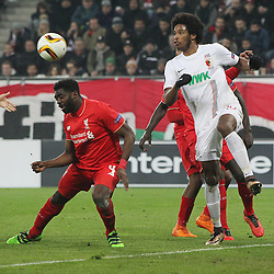 18.02.2016, WWKArena, Augsburg, GER, UEFA EL, FC Augsburg vs FC Liverpool, Sechzehntelfinale, Hinspiel, im Bild Kolo Toure ( FC Liverpool ) Caiuby ( FC Augsburg ), // during the UEFA Europa League Round of 32, 1st Leg match between FC Augsburg and FC Liverpool at the WWKArena in Augsburg, Germany on 2016/02/18. EXPA Pictures © 2016, PhotoCredit: EXPA/ Eibner-Pressefoto/ Langer<br /> <br /> *****ATTENTION - OUT of GER*****