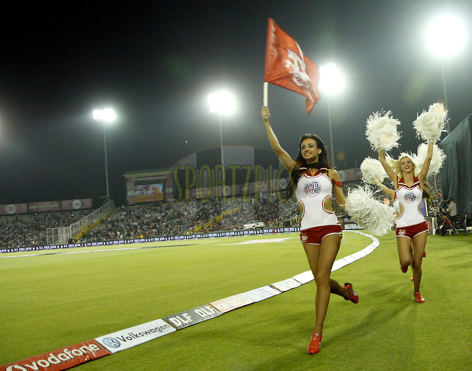 Cheer Girls of Kings XI Punjab Walks in before the match 61 of the the Indian Premier League ( IPL) 2012  between The Kings X1 Punjab and The Deccan Chargers held at the Punjab Cricket Association Stadium, Mohali on the13th May 2012..Photo by Sandeep Shetty/IPL/SPORTZPICS