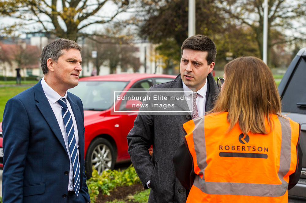Pictured: Jamie Hepburn meets Stewart Shearer, Managing Director of Robertson Partnership Homes and Gemma Goorley, Director of Social Sustainability. <br /> <br /> Minister for Employability and Training Jamie Hepburn  responded to the latest Labour market statistics when he visited Robertson Partnership Homes in Edinburgh today and met some of their construction workers<br /> <br /> <br /> Ger Harley   EEm 15 November 2017