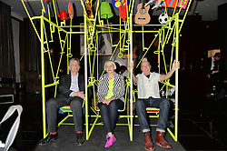 Left to right, DEYAN SUDJIC, MORAG MYERSCOUGH and LUKE MORGAN  at a dinner at The Bulgari Hotel, 171 Knightsbridge to celebrate The London Design Festival on 13th September 2016.