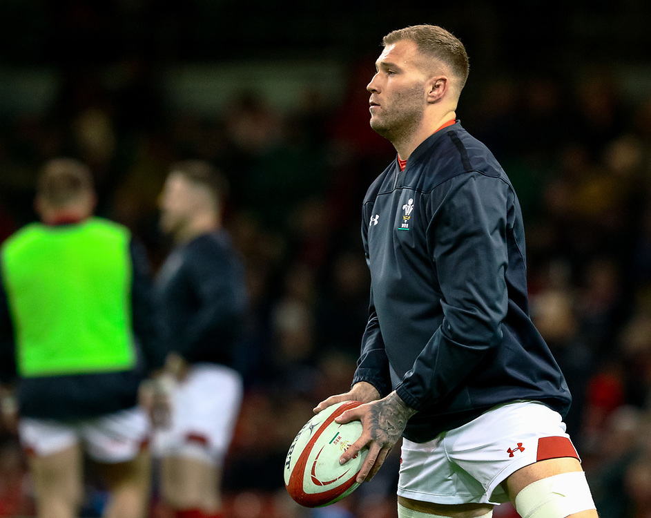 Ross Moriarty of Wales during the pre match warm up<br /> <br /> Photographer Simon King/Replay Images<br /> <br /> Under Armour Series - Wales v South Africa - Saturday 24th November 2018 - Principality Stadium - Cardiff<br /> <br /> World Copyright © Replay Images . All rights reserved. info@replayimages.co.uk - http://replayimages.co.uk
