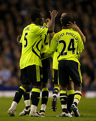 LIVERPOOL, ENGLAND - Thursday, April 17, 2008: Chelsea's Michael Essien celebrates with team-mates after his opening goal during the Premiership match against at Goodison Park. (Photo by David Rawcliffe/Propaganda)