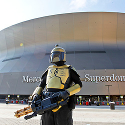 October 7, 2012; New Orleans, LA, USA; New Orleans Saints fan Larry Jehle Jr. known as Saints Fett Bounty Hunter of the Black & Gold poses for a picture outside prior to kickoff of a game against the San Diego Chargers at the Mercedes-Benz Superdome. Mandatory Credit: Derick E. Hingle-US PRESSWIRE