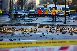 © Licensed to London News Pictures. 21/01/2020. London, UK. The view of the damage caused outside Southwark Tube station after flooding from burst pipe. Photo credit: Dinendra Haria/LNP