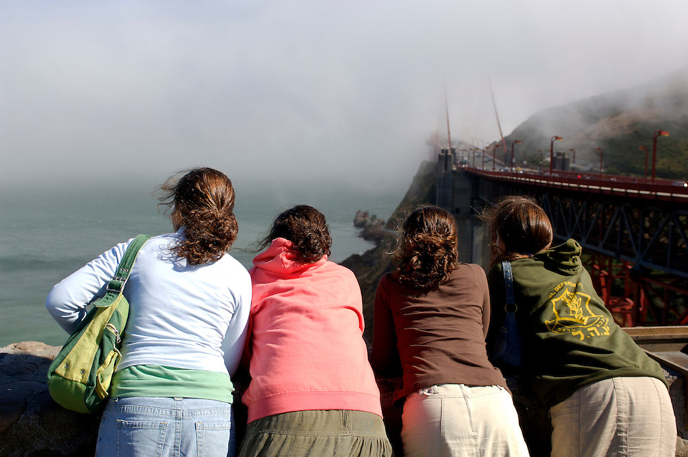 People looking at Golden Gate  Bridge, San Francisco, California, United States of America