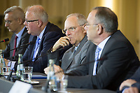 03 JUN 2014, BERLIN/GERMANY:<br /> Martin Jaeger, Pressesprecher Bundesministerium der Finanzen, Dr. Thomas Schaefer, CDU, Finanzminister Hessen, Wolfgang Schaeuble, CDU, Bundesfinanzminister, Dr. Norbert Walter-Borjans, SPD, Finanzminister NRW; (v.L.n.R.), Pressekonferenz zu den Ergebnissen der 11. Sitzung des Stabilitaetsrates mit Bundesministerium der Finanzen<br /> IMAGE: 20150603-02-022<br /> KEYWORDS: Stabilitätsrat, Thomas Schäfer, Wolfgang Schäuble, Martin Jäger