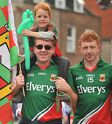 Tom and Joey Hanley with cousin David Hanley from Mulranny on their way to the All Ireland Semi-final between Mayo and Dublin on sunday last.<br /> Pic conor McKeown