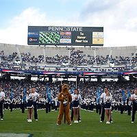 The Penn State Blue Band plays the National Anthem and the alma mater prior to the Nittany Lions game against the Illinois Fighting Illini on November 2, 2013 at Beaver Stadium in University Park, Pennsylvania. The touchdown was called back due to a holding penalty.