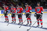 KELOWNA, CANADA - DECEMBER 8:  Mitchell Wheaton #6, JT Barnett #17, Carter Rigby #11, Colton Heffley #25 and Madison Bowey #4 line up against the Prince George Cougars at the Kelowna Rockets on December 8, 2012 at Prospera Place in Kelowna, British Columbia, Canada (Photo by Marissa Baecker/Shoot the Breeze) *** Local Caption ***