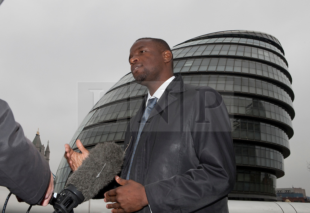 © Licensed to London News Pictures. 05/04/2012. London, U.K..Duwayne Brooks interviewed. .Brian Paddick, Liberal Democrat candidate for London Mayor announces that Duwayne Brooks, best friend of Stephen Lawrence, is to be his Deputy Mayor for Youth and Communities. The position would involve Duwayne working closely with communities and young people in London, listening and engaging with them and reporting back to the Mayor, offering advice and delivering projects beneficial to both groups..Photo credit : Rich Bowen/LNP