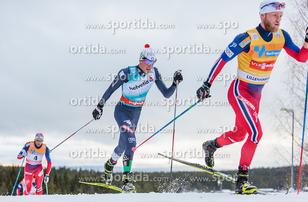 05.12.2015, Nordic Arena, NOR, FIS Weltcup Langlauf, Lillehammer, Herren, im Bild v.l.: Francesco de Fabiani (ITA), Martin Johnsrud Sundby (NOR) // Francesco de Fabiani of Italy, Martin Johnsrud Sundby of Norway during Mens Cross Country Competition of FIS Cross Country World Cup at the Nordic Arena, Lillehammer, Norway on 2015/12/05. EXPA Pictures © 2015, PhotoCredit: EXPA/ JFK