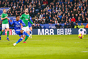 Goal Leicester City midfielder Demarai Gray (7) scores a goal 1-0 during the Premier League match between Leicester City and Brighton and Hove Albion at the King Power Stadium, Leicester, England on 26 February 2019.