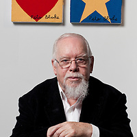 Sir Peter Blake, artist, known affectionately as The Godfather of British Pop Art. Celebrated for the Beatles album sleeve Sgt. Peppers Lonely Hearts Club Band. .Pictured at the Dovecot Studios, Edinburgh celebrating the Centenary of Dovecot Weavers and the first major exhibition of Dovecot tapestry for over thirty years..The untitled series of four tapestries are distinctively Blake...Picture Drew Farrell.Tel : 07721-735041.