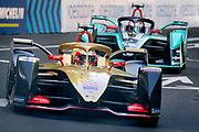 French DS Techeetah driver Jean- Eric Vergne leads the race followed by New Zealand driver Mitch Evans ( Panasonic Jaguar) on the street tracks of the Julius Bär Formula E race in the swiss capital Bern. Vergne won the race, with Evans coming in second. Vergne now has a 32 point lead in the championship.
