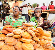 Pastry sellers at the street market near the ferry in Likoni, Kenya.
