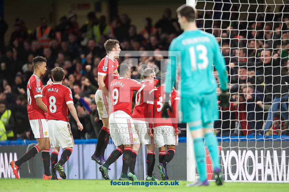 Jesse Lingard (35) of Manchester United celebrates after scoring the opening goal with his team mates during the Barclays Premier League match at Stamford Bridge, London<br /> Picture by Alan Stanford/Focus Images Ltd +44 7915 056117<br /> 07/02/2016