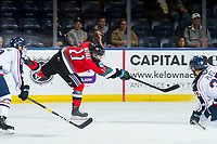 KELOWNA, BC - OCTOBER 2:  Pavel Novak #11 of the Kelowna Rockets takes a shot on goal against the Tri-City Americans  at Prospera Place on October 2, 2019 in Kelowna, Canada. (Photo by Marissa Baecker/Shoot the Breeze)