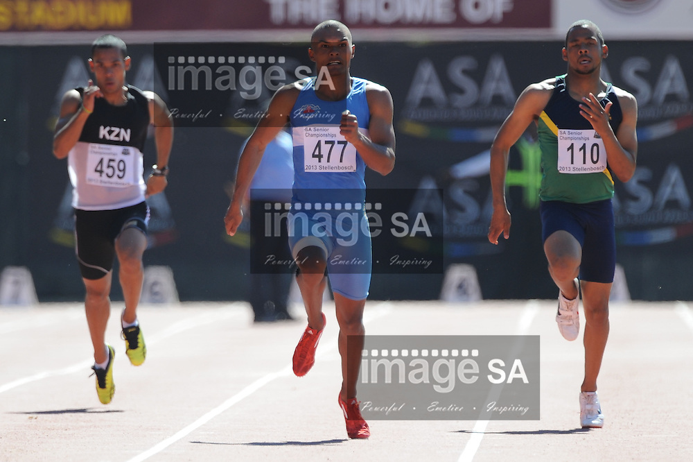 STELLENBOSCH, South Africa - Saturday 13 April 2013, Roscoe Engel (477) in the mens 200m heats during day 2 of the South African Senior Athletics championships at the University of Stellenbosch's Coetzenburg stadium.Photo by Roger Sedres/ ImageSA