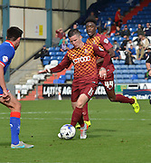 Billy Knott deftly controls the ball in the middle of the park during the Sky Bet League 1 match between Oldham Athletic and Bradford City at Boundary Park, Oldham, England on 5 September 2015. Photo by Mark Pollitt.