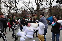 KYLE LEVO donning eight pillows joins others in the April 2, 2016 Annual international Pillow Fight event at Washington Square Park, in Philadelphia, PA.