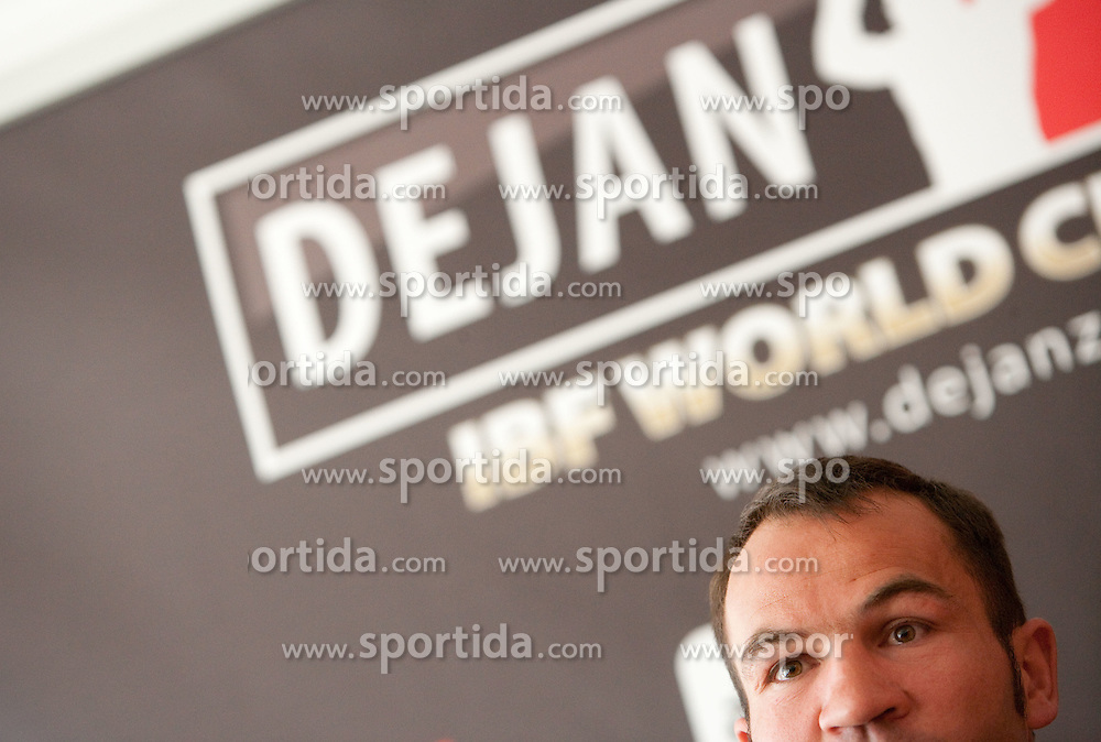 Boxer Dejan Zavec alias Jan Zaveck alias Mr. Sympatikus at press conference, on May 11, 2011 in Kavarna Sputnik, Ljubljana, Slovenia. (Photo By Vid Ponikvar / Sportida.com)