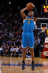 Mar 28, 2012; Oakland, CA, USA;  New Orleans Hornets point guard Jarrett Jack (2) shoots against the Golden State Warriors during the first quarter at Oracle Arena. Mandatory Credit: Jason O. Watson-US PRESSWIRE