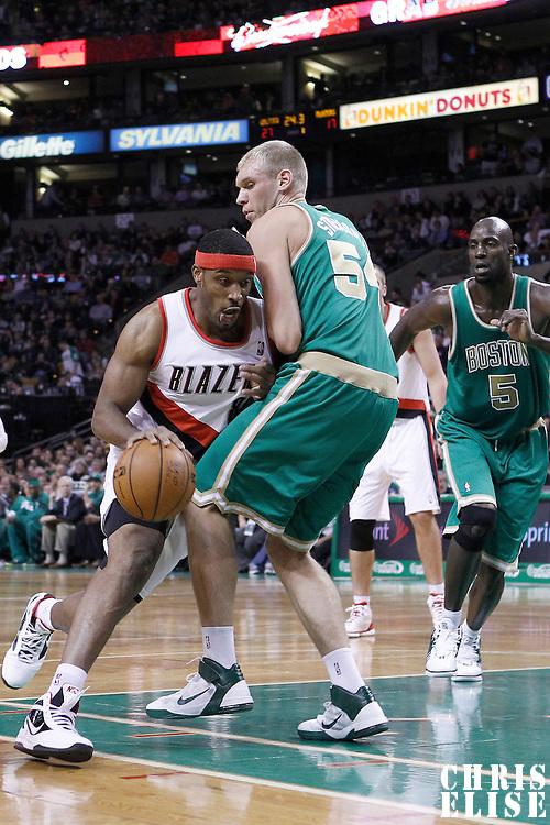 09 March 2012: Portland Trailblazers center Craig Smith (83) drives past Boston Celtics center Greg Stiemsma (54) during the Boston Celtics 104-86 victory over the Portland Trail Blazers at the TD Banknorth Garden, Boston, Massachusetts, USA.