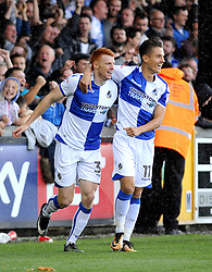 Rory Gaffney of Bristol Rovers celebrates with Tom Nichols of Bristol Rovers - Mandatory by-line: Neil Brookman/JMP - 09/09/2017 - FOOTBALL - Memorial Stadium - Bristol, England - Bristol Rovers v Walsall - Sky Bet League One