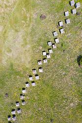 Aerial view of Second World War era anti-tank blocks at Gullane Sands in East Lothian, Scotland, UK
