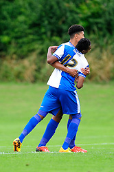 Bristol Rovers' U18s  Chad Douglas celebrates with his team mate after scoring - Photo mandatory by-line: Dougie Allward/JMP - Tel: Mobile: 07966 386802 17/08/2013 - SPORT - FOOTBALL - Bristol Rovers Training Ground - Friends Life Sports Ground - Bristol - Academy - Under 18s - Youth - Bristol Rovers U18s V Bournemouth U18s