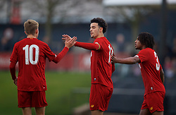 KIRKBY, ENGLAND - Wednesday, November 27, 2019: Liverpool's captain Curtis Jones (C) celebrates scoring the second goal from a penalty kick during the UEFA Youth League Group E match between Liverpool FC Under-19's and SSC Napoli Under-19's at the Liverpool Academy. (Pic by David Rawcliffe/Propaganda)