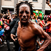Festival goers attend the Notting Hill Carnival, London, August 31, 2015. <br /> <br /> &copy; Jack Megaw, 2015. <br /> <br /> www.jackmegaw.com