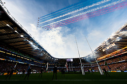 The Royal Airforce Red Arrows display team perform a flypast as the two teams take to the Twickenham Pitch - Mandatory byline: Rogan Thomson/JMP - 07966 386802 - 31/10/2015 - RUGBY UNION - Twickenham Stadium - London, England - New Zealand v Australia - Rugby World Cup 2015 FINAL.