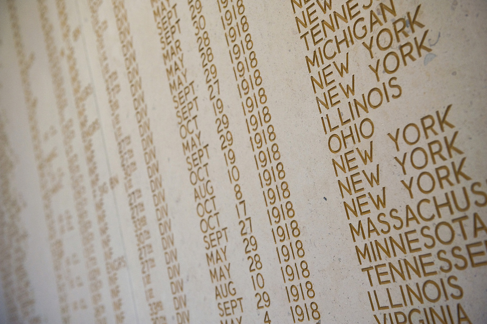 The names of 333 of the missing engraved on the wall of the chapel of Somme American Cemetery and Memorial located in Bony, Aisne, Picardy, France. It contains the graves of 1,844 of the United States' military dead from World War I