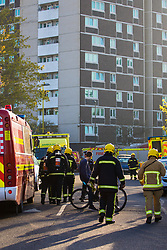 Southampton, April 9th 2017. More than ten fire engines from Southampton and surrounding areas attend a flat fire in Redbridge Towers, Millbrook, in Southampton. No injuries are reported at present.. Credit: Paul Davey