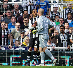 NEWCASTLE-UPON-TYNE, ENGLAND - Sunday, April 1, 2012: Liverpool's goalkeeper Jose Reina argues with Newcastle United's James Perch which leads to his sending off during the Premiership match at St James' Park. (Pic by Vegard Grott/Propaganda)