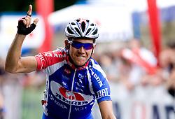 Kristjan Fajt (SLO) of Adria Mobil at finish line in Novo mesto at 4th stage of Tour de Slovenie 2009 from Sentjernej to Novo mesto, 153 km, on June 21 2009, Slovenia. (Photo by Vid Ponikvar / Sportida)