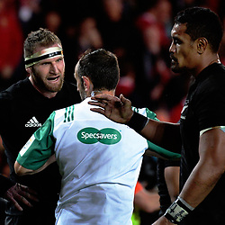 All Blacks captain Kieran Read talks to referee Romain Poite after the final whistle of the 2017 DHL Lions Series rugby union 3rd test match between the NZ All Blacks and British & Irish Lions at Eden Park in Auckland, New Zealand on Saturday, 8 July 2017. Photo: Dave Lintott / lintottphoto.co.nz