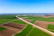 Nederland, Friesland, Leeuwarden, 01-05-2013; aanleg N31 de Haak om Leeuwarden. Kruising met water van de Swette (Zwette). Leeuwarden aan de horizon..De nieuwe rijksweg vormt de verbinding tussen de huidige A31 bij Marsum en de N31 bij Hemriksein (Wâldwei)..Construction of new motorway N31, near Leeuwarden (background) , crossing channel Zwette. .luchtfoto (toeslag op standard tarieven).aerial photo (additional fee required).copyright foto/photo Siebe Swart