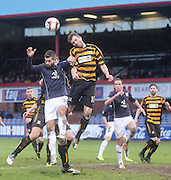 Alloa Athletic's Graeme Holmes beats Dundee's Peter MacDonald in the air - Dundee v Alloa Athletic, SPFL Championship at Dens Park<br /> <br />  - &copy; David Young - www.davidyoungphoto.co.uk - email: davidyoungphoto@gmail.com
