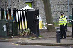 © Licensed to London News Pictures. 1/1/2018, London, UK. Police at the scene of a murder in West Ham Memorial Park, where a twenty year old male was stabbed to death, one of four fatal stabbings across the capital on new years eve. Photo credit: Steve Poston/LNP