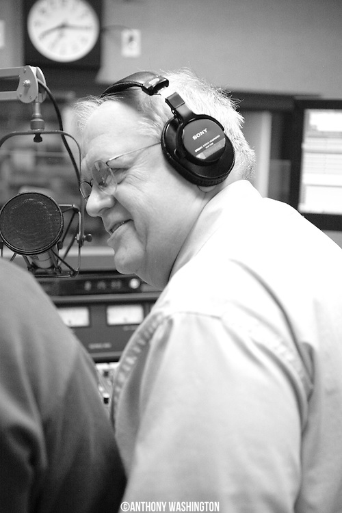 Gary Henderson, host of The Gary Henderson Show on WAMU's Bluegrass Country, working in the studio during the first day of the Winter Membership Campaign on Saturday, February 12, 2011.