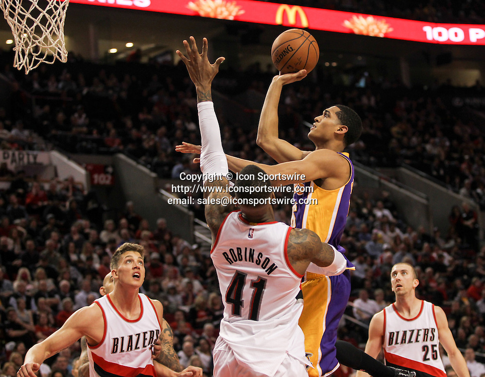 Feb. 11, 2015 - JORDAN CLARKSON (6) shoots a jumper. The Portland Trail Blazers play the Los Angeles Lakers at the Moda Center on February 11, 2015