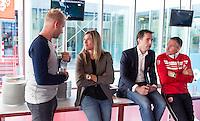 AMSTERDAM - Sjoerd Marijne, Kim Lammers, Guido Davio en Dennis Gebbink tijdens KNHB Symposium Train de Trainer, voor trainer, coach , begeleider binnen het aangepaste hockey. Dit alles in het Ronald MacDonald Centre in Amsterdam. COPYRIGHT KOEN SUYK