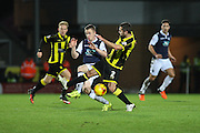 Burton Albion defender Phil Edwards wins the ball in midfield during the Sky Bet League 1 match between Burton Albion and Millwall at the Pirelli Stadium, Burton upon Trent, England on 1 December 2015. Photo by Aaron Lupton.