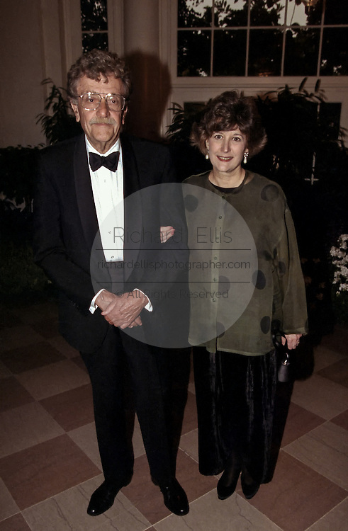 Kurt Vonnegut, author, and Jill Krementz, author and photographer arrive for a State Dinner welcoming Havel to the White House September 16, 1998 in Washington, DC.