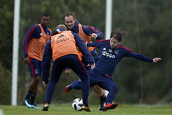 Siem de Jong of Ajax (C), Lasse Schone of Ajax (R) during a training session of Ajax Amsterdam at the Cascada Resort on January 09, 2018 in Lagos, Portugal