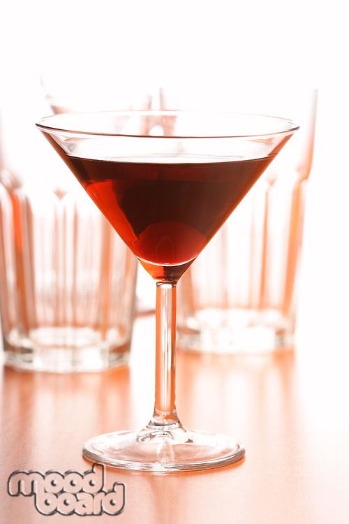 Studio shot of drink in martini glass