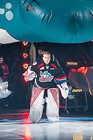 KELOWNA, CANADA - SEPTEMBER 24: Brodan Salmond #31 of the Kelowna Rockets enters the ice against the Kamloops Blazers on September 24, 2016 at Prospera Place in Kelowna, British Columbia, Canada.  (Photo by Marissa Baecker/Shoot the Breeze)  *** Local Caption *** Brodan Salmond;